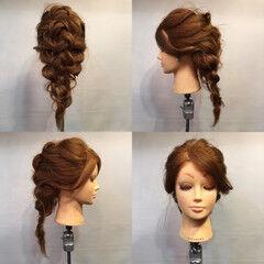 ヘアアレンジ 編み込み セミロング ラフ ヘアスタイルや髪型の写真・画像