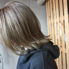 透明感カラー ナチュラル 切りっぱなしボブ ミディアム ヘアスタイルや髪型の写真・画像
