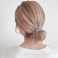 セルフアレンジ ナチュラル 簡単ヘアアレンジ ミディアム ヘアスタイルや髪型の写真・画像