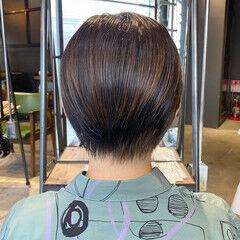 ショート 暗髪女子 ナチュラル 大人ショート ヘアスタイルや髪型の写真・画像