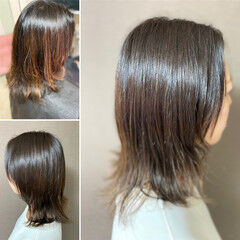 ミディアム ネオウルフ ウルフパーマヘア ウルフパーマ ヘアスタイルや髪型の写真・画像