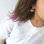 ピンク ナチュラル 切りっぱなしボブ 裾カラー