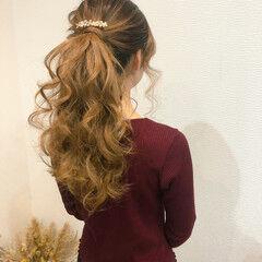 フェミニン ポニーテールアレンジ ブライダル セミロング ヘアスタイルや髪型の写真・画像