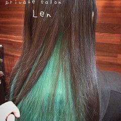 インナーカラー ロング アッシュ おしゃれ ヘアスタイルや髪型の写真・画像