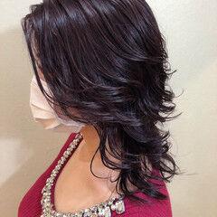 ベリーピンク セミロング モード ブルーラベンダー ヘアスタイルや髪型の写真・画像