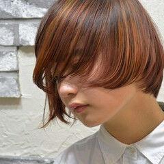 モード グラデーションカラー ボブ ハイライト ヘアスタイルや髪型の写真・画像
