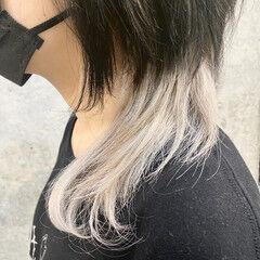 ウルフ ミディアム ツートンカラー モード ヘアスタイルや髪型の写真・画像