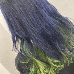 個性的 派手髪 緑 ストリート ヘアスタイルや髪型の写真・画像