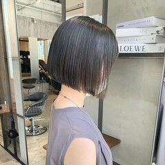 黒髪 切りっぱなしボブ ミニボブ ナチュラル ヘアスタイルや髪型の写真・画像