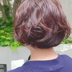 ゆるふわパーマ 無造作パーマ ボブ ナチュラル ヘアスタイルや髪型の写真・画像