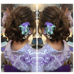 ロング ナチュラル ヘアアレンジ 花火大会 ヘアスタイルや髪型の写真・画像