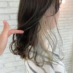モード インナーカラーホワイト 前髪インナーカラー イヤリングカラー