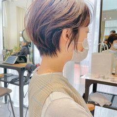 切りっぱなしボブ ショート ナチュラル ショートヘア ヘアスタイルや髪型の写真・画像