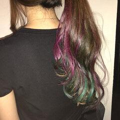 ピンク ロング モード グリーン ヘアスタイルや髪型の写真・画像
