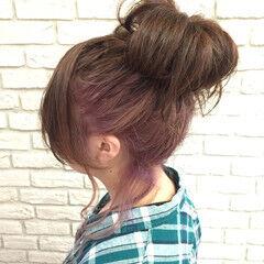 ヘアアレンジ パステルカラー ピンク ミディアム ヘアスタイルや髪型の写真・画像