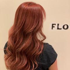 フェミニン ピンクブラウン 韓国ヘア ロング ヘアスタイルや髪型の写真・画像