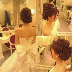 ドレス ヘアアレンジ パーティ 上品 ヘアスタイルや髪型の写真・画像