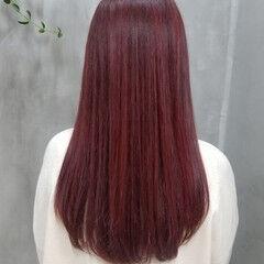 ロング ガーリー ピンク チェリーピンク ヘアスタイルや髪型の写真・画像