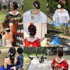 ヘアセット アップスタイル フェミニン ミディアム ヘアスタイルや髪型の写真・画像