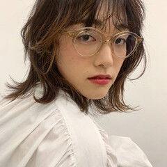 レイヤーボブ フェミニン 3Dカラー ウザバング ヘアスタイルや髪型の写真・画像