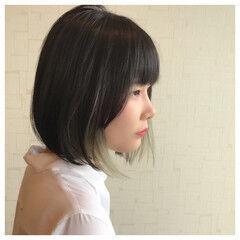 モード ミニボブ ワンレン かっこいい ヘアスタイルや髪型の写真・画像
