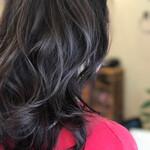 セミロング イルミナカラー ナチュラル 巻き髪