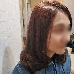 縮毛矯正名古屋市 ピンクバイオレット セミロング デジタルパーマ ヘアスタイルや髪型の写真・画像