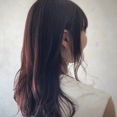 ボルドーヘア 秋ブラウン セミロング 簡単スタイリング ヘアスタイルや髪型の写真・画像