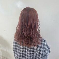ダメージレス ピンク 透け感ヘア ピンクベージュ ヘアスタイルや髪型の写真・画像