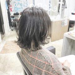 ナチュラル ボブ #インナーカラー ブリーチカラー ヘアスタイルや髪型の写真・画像