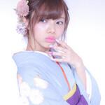 ガーリー ヘアアレンジ ピンク 袴