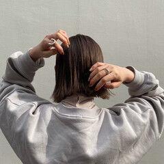 ツヤ髪 ナチュラル 切りっぱなしボブ モテボブ ヘアスタイルや髪型の写真・画像