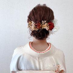 ミディアム 着物 訪問着 振袖ヘア ヘアスタイルや髪型の写真・画像