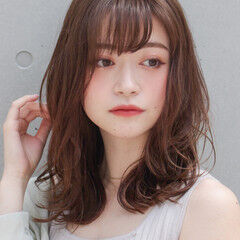 似合わせカット デジタルパーマ ミディアム アンニュイほつれヘア ヘアスタイルや髪型の写真・画像