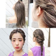 寒色 レイヤーロングヘア ナチュラル 3Dハイライト ヘアスタイルや髪型の写真・画像