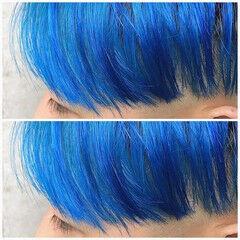 モード マッシュショート ブルー メンズマッシュ ヘアスタイルや髪型の写真・画像