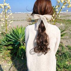 ローポニーテール 結婚式 ロング ブライダル ヘアスタイルや髪型の写真・画像