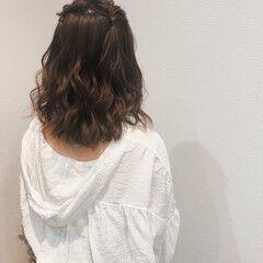 ヘアアレンジ ハーフアップ ヘアセット ミディアム ヘアスタイルや髪型の写真・画像