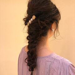 フェミニン 簡単ヘアアレンジ 大人かわいい ヘアアクセ ヘアスタイルや髪型の写真・画像