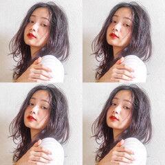 無造作ミックス フェミニン 無造作パーマ ミディアム ヘアスタイルや髪型の写真・画像