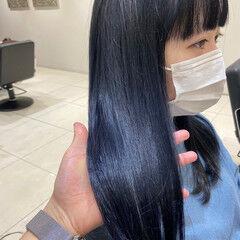 ネイビーブルー セミロング フェミニン ブルーブラック ヘアスタイルや髪型の写真・画像