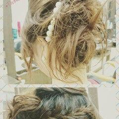 ヘアアレンジ 編み込み バレッタ ミディアム ヘアスタイルや髪型の写真・画像