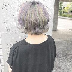 ナチュラル ブリーチ ボブ ブリーチオンカラー ヘアスタイルや髪型の写真・画像