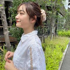 おだんご シニヨン 簡単ヘアアレンジ セルフヘアアレンジ ヘアスタイルや髪型の写真・画像