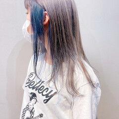 ストリート アッシュグレー セミロング ミントアッシュ ヘアスタイルや髪型の写真・画像