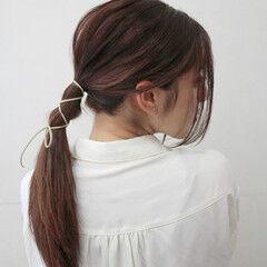 大人かわいい セミロング 簡単ヘアアレンジ ブリーチカラー ヘアスタイルや髪型の写真・画像