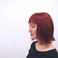 モード オルチャン ビビッドカラー ボブ ヘアスタイルや髪型の写真・画像