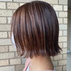 地毛風カラー ボブ ヌーディベージュ ミルクティーブラウン ヘアスタイルや髪型の写真・画像