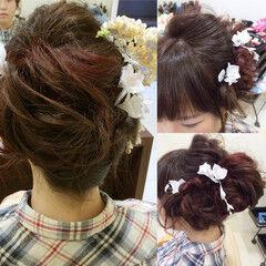 フェミニン ヘアアレンジ アップスタイル ミディアム ヘアスタイルや髪型の写真・画像