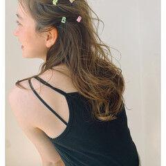 ガーリー ふわふわヘアアレンジ セミロング ヘアアレンジ ヘアスタイルや髪型の写真・画像